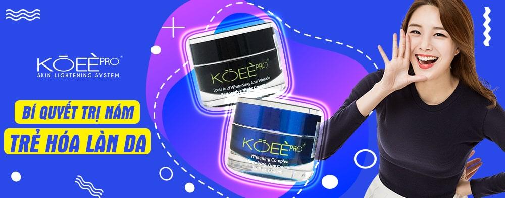Bộ kem trị nám dưỡng trắng da Koee Pro