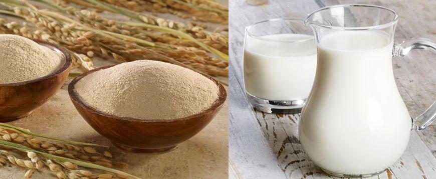 Hỗn hợp bột gạo và sữa tươi