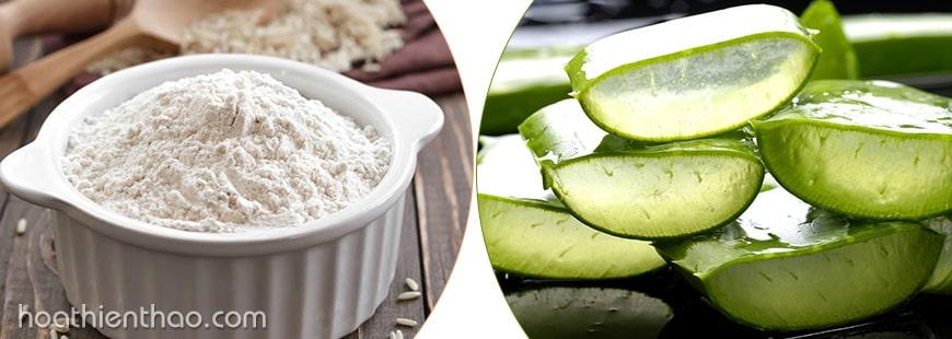 Nha đam và bột gạo giúp trắng da toàn thân
