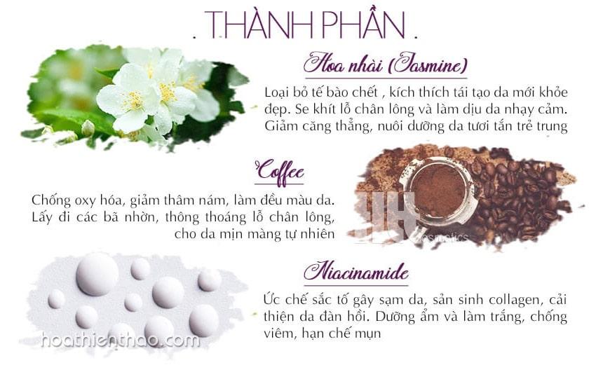 Thành phần Kem tắm trắng cà phê và hoa nhài Replay Advanced