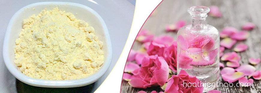 Trắng da toàn thân từ bột Gram và nước hoa hồng