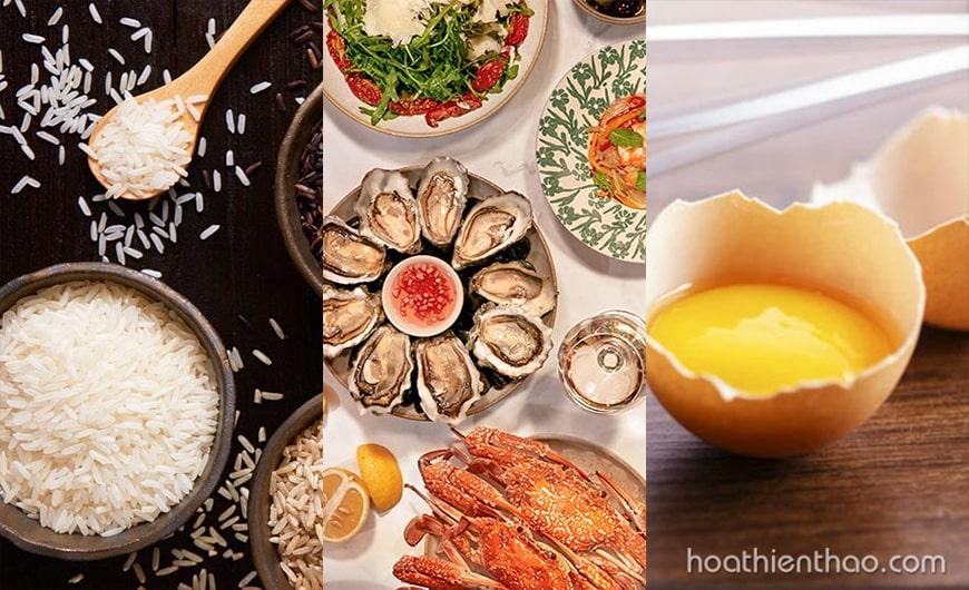 Hạn chế ăn gạo nếp, hải sản, lòng trắng trứng gà