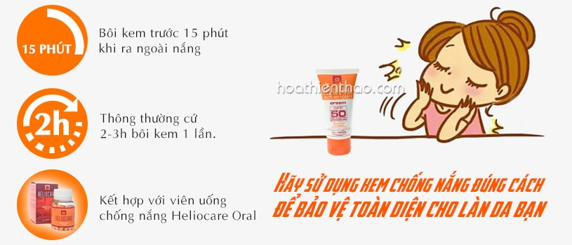 Sử dụng kem chống nắng Heliocare đúng cách