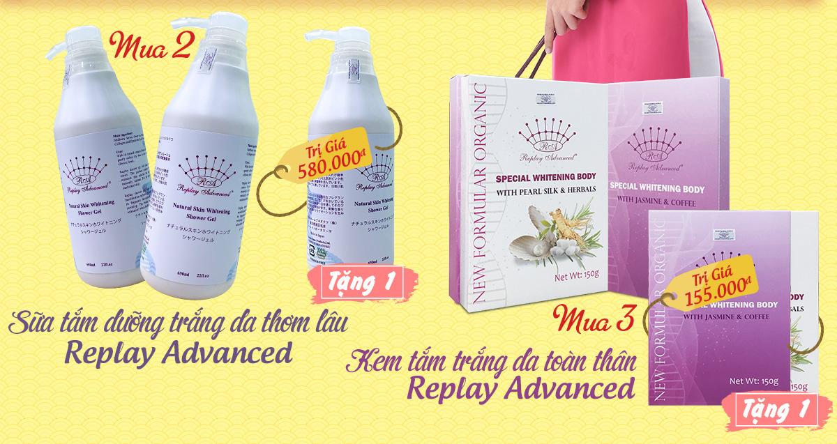 Kem tắm trắng và Sữa tắm thơm lâu Replay Advanced của Nhật