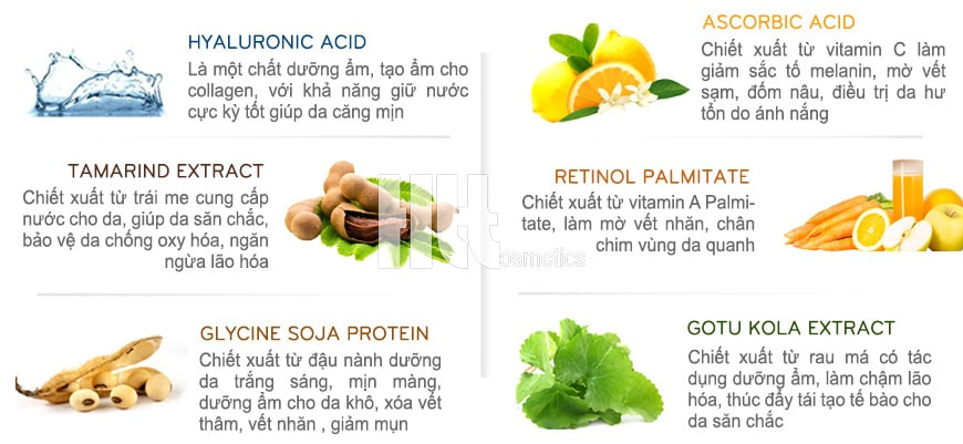 Thành phần chính: Ascorbic Acid, Hyaluronic Acid, Gotu Kola Extract, Tamarind Extract, Retionol Palmitate, Glycine Soja Protein