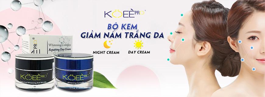 Bộ kem giảm nám trắng da ngày và đêm Koee Pro 1