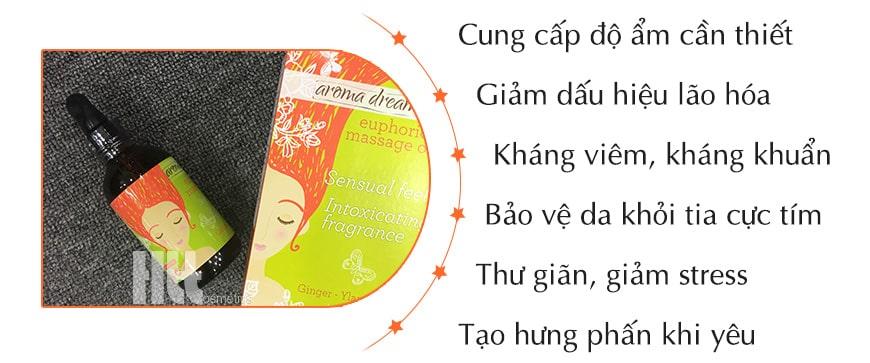 Công dụng dầu dưỡng massage Aroma hoa ngọc lan