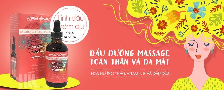 Dầu dưỡng massage body và da mặt Aroma hoa hương thảo, vitamin E, dầu dừa