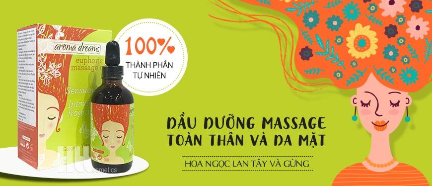 Dầu dưỡng massage toàn thân và da mặt Aroma hoa ngọc lan và gừng