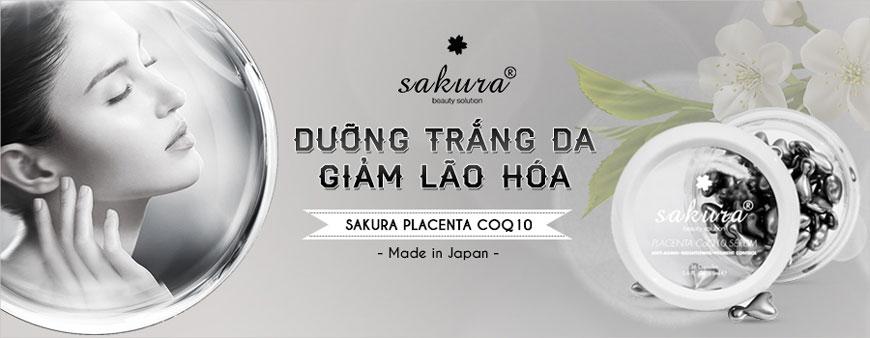 Serum dưỡng trắng da giảm lão hoá Sakura Placenta Coq10 1