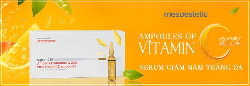 Serum trị nám trắng da Mesoestetic Ampollas Vitamin C 20%