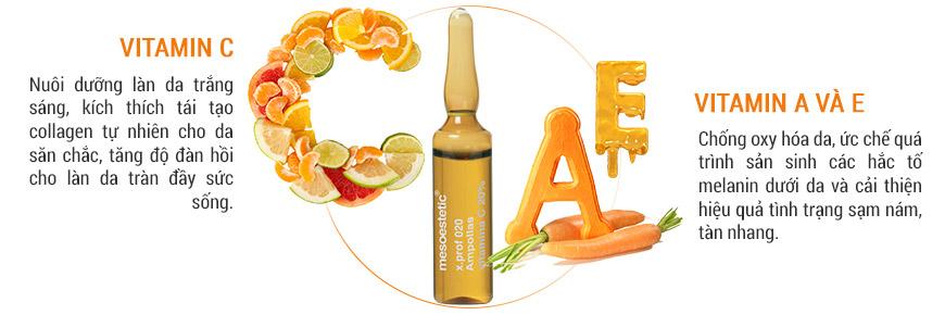 Công dụng Serum  Mesoestetic Ampollas Vitamin C 20% 2