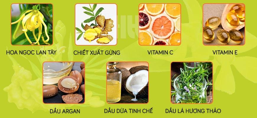 Thành phần dầu dưỡng massage Aroma hoa ngọc lan