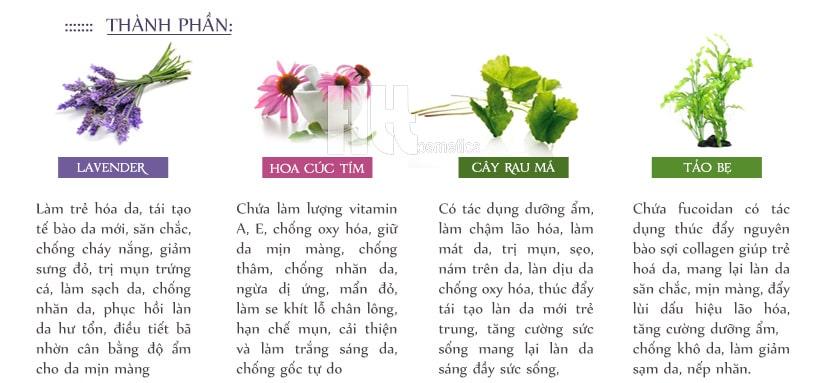 Thành phần thiên nhiên: Hoa cúc tím, Lavender, cây rau má, tảo bẹ