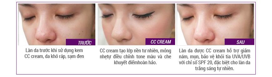Hiệu quả kem trang điểm Koee CC Cream Santee Magic Skin