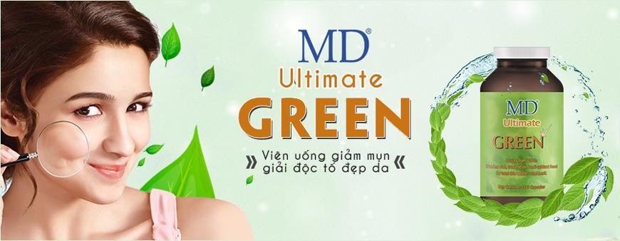 Viên uống trị mụn giải độc tố đẹp da MD Ultimate Green